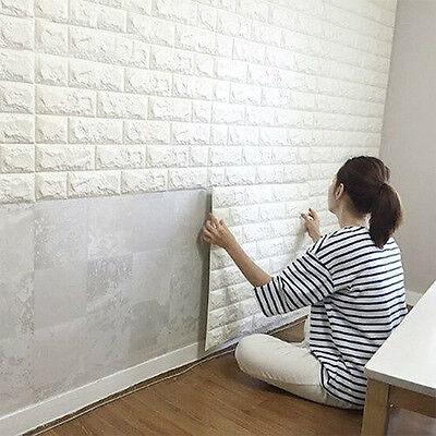 60 30CM 3D SPUGNA Mattone di pietra autoadesivo adesivo da parete pannelli