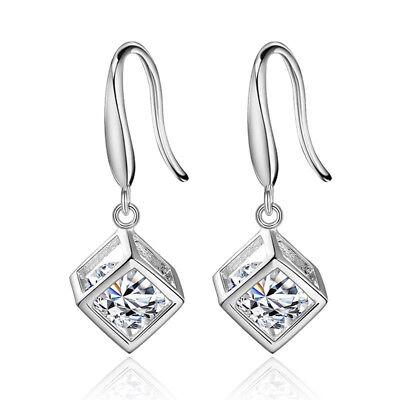 Cube Sterling Silver Earrings - Women's 925 Sterling Silver Solid Crystal Cube Ear Drop Hook Earrings Jewelry