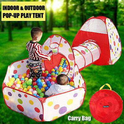 Portable Kids Play Tent Crawl Tunnel 3 in 1 Ball Pit Play House Indoor - Tent House Tunnel