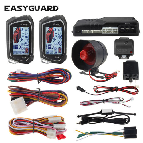 EASYGUARD car alarm system 2 way remote start LCD pager display vibration sensor