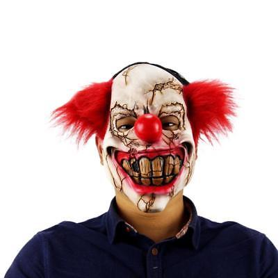 Halloween Mask Scary Clown Latex FullFace Big Mouth Red Hair Nose Cosplay Horror (Big Scary Clown)