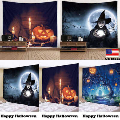 Halloween Witch Pumpkin Tapestry Room Bedspread Wall Art Hanging Home Decor - Halloween Wall Decorations