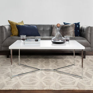 "Walker Edison 42"" Y-Leg Coffee Table in White Marble & Chrome"