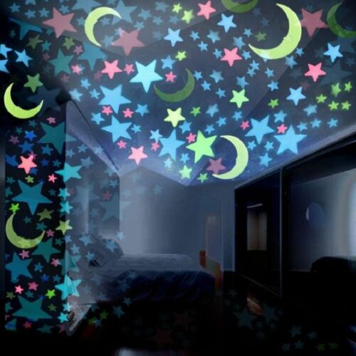 Details about 100pcs Pack Glow In The Dark 3D Stars Moon Stickers Bedroom  Wall Room Decor DIY