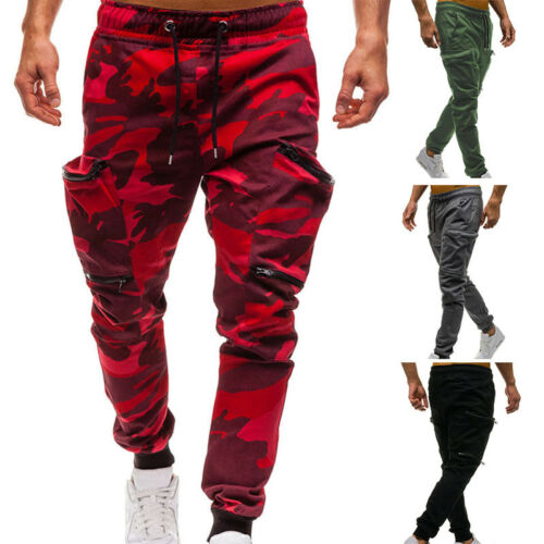 Men Camouflage Camo Cargo Army Pants Harem Joggers Sport Sweatpants Trousers New