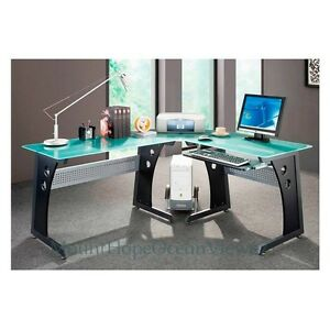 Glass-Top-Computer-Desk-Modern-Graphite-Corner-Gaming-Home-Office