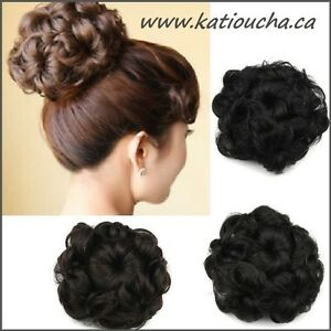 Wavy Curly Hair Bun Cover Hairpiece Scrunchie,Chignon diam.10cm