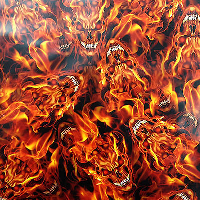 Hydrographic Water Transfer Hydrodipping Film Hydro Dip Flaming Devil Skull 1 Sq