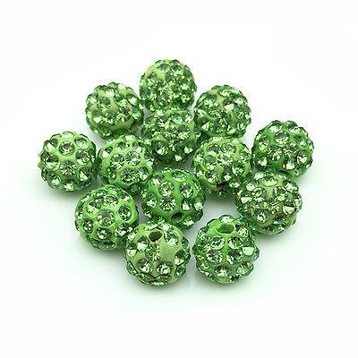 20Pcs/Lot Green Micro Pave Disco Crystal Shamballa Beads Bracelet Spacer 10mm