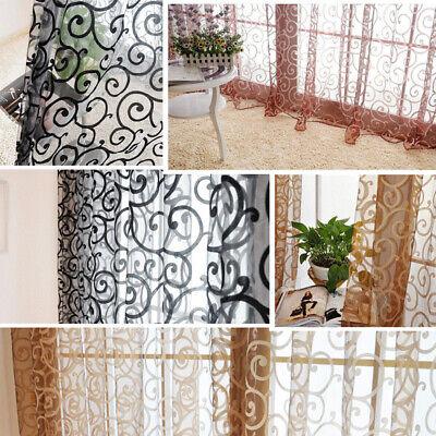 Valances Floral Tulle Voile Curtain Drape Door Window Panel Sheer Scarf Curtain ()