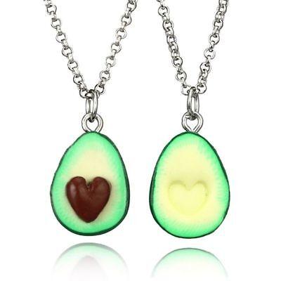 2pcs Best Friends Avocado Necklace Set Guacamole Friendship Couple Heart Sisters