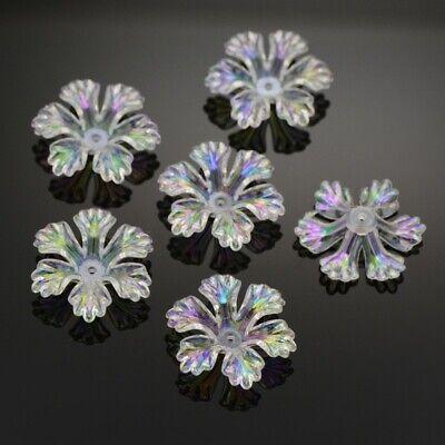 10 Acrylperlen Blütenkelche 26 x 26 mm ,Klar irisierende Blüten