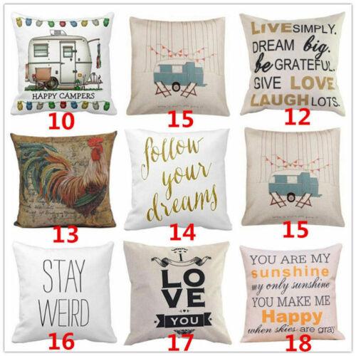 Vintage Funny Words Cotton Linen Throw Pillow Case Sofa Cush