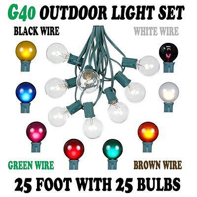 25 Foot G40 Outdoor Globe Patio String Lights Set Of 25