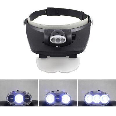Ce Dental Headband 3 Led Head Light Loupes With 4 Lenses Glasses Magnifier Loupe