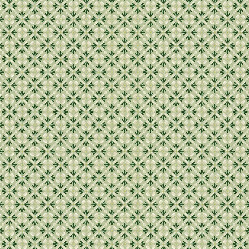 Dollhouse Wallpaper Green Geometric by Bradbury & Bradbury