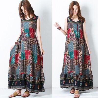 (ZANZEA Women Plus Summer Party Long Maxi Dress Sleeveless Sundress Tank Dress)
