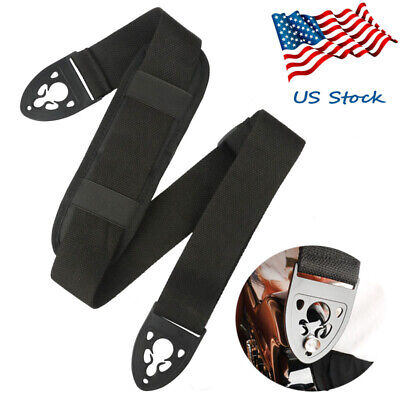 Electric Bass Nylon Adjustable Soft Guitar Strap Black + Shoulder Pad Quick Lock
