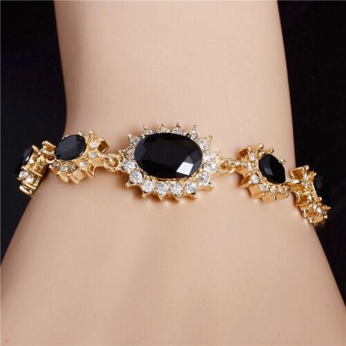 Jewellery - Fashion Women Gold Plated Crystal Bangle Bracelet Chain Wristband Jewelry Gift