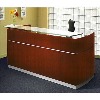 Mayline Wood Veneer Napoli Sierra Cherry Reception Desk W Frosted Glass Counter