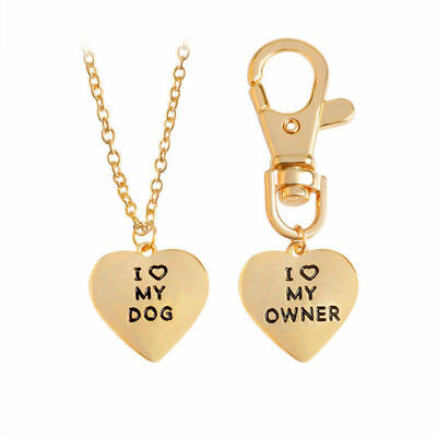"""Heart-shaped """"I Love My Dog"""" Owner Best Friends BFF Keycain Pendant Necklace - I Love My Bff"""