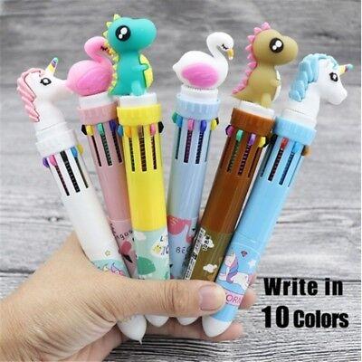 3 Styles 10 Colors Unicorn Cartoon Multi Color Changing Ball Pen For Kids - Multi Color Pens