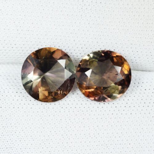"""3.62Cts Best Luster """"Rare"""" TOP ANDALUSITE ~UNHEATED Round Pair....!!!!!"""