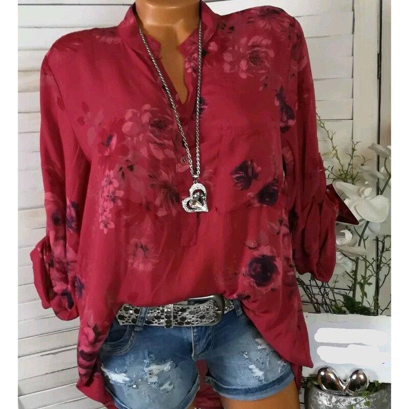 Damen Blumen Langarm Hemdbluse Rever Knopf Tunika Oberteil Shirt Top 42 44 46 48