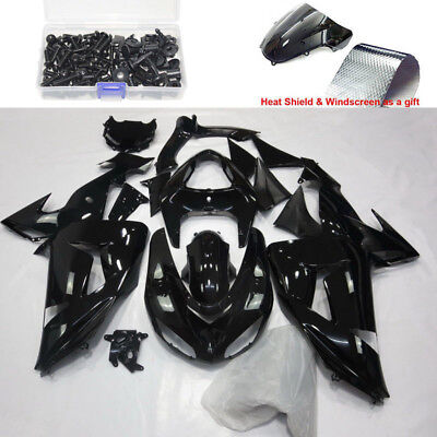 Injection Gloss Black Fairing kit Bodywork for 2006-2007 Kawasaki Ninja ZX 10R