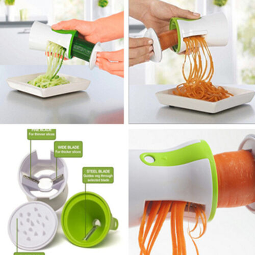 Vegetable Spiral Slicer Cutter Chopper Handheld 2 Blade Compact Kitchen Tool available at Ebay for Rs.299