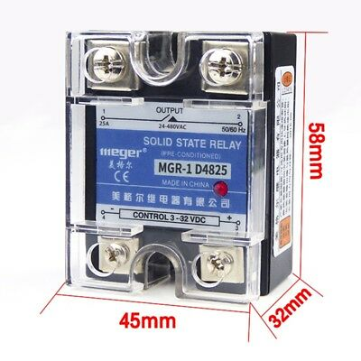 1pcs Solid State Relay 25a Ac 24-480v Dc 3-32v Single Phase With Led Indicator