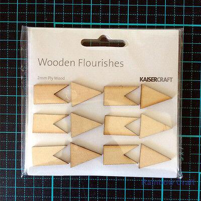 Kaisercraft Wooden Embellishments flourish Pack 18 wording / patterns U select - Pennants