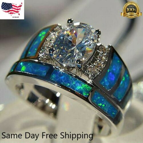 2pcs/set 925 Silver Rings for Women White Sapphire Jewelry Wedding Ring Sz 6-10