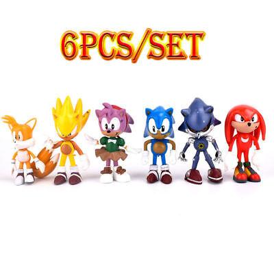 6Pcs Sega Sonic The Hedgehog Action Figures PVC Toy Kid's Boys Christmas Gifts