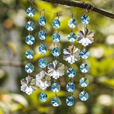 Octagon Prism Chandelier Chain - Sky Blue Crystal Chandelier Prism Snowflake Octagon Bead Chain Wedding Pendant