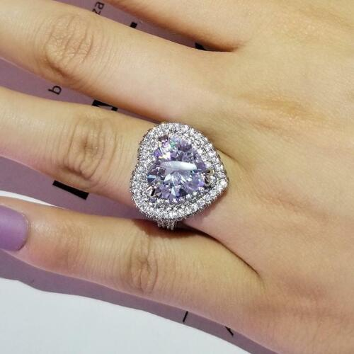 New Luxury Heart 925 Sterling Silver Engagement Ring For Women