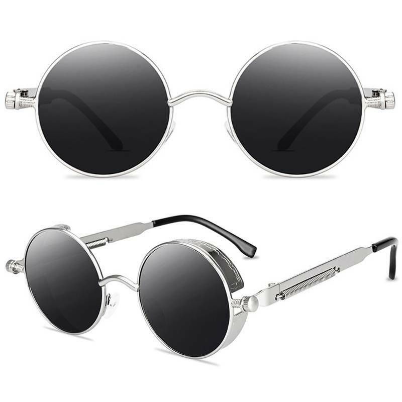 Vintage Retro Steampunk Sunglasses Men Women Unisex Metal Round Punk Glasses US