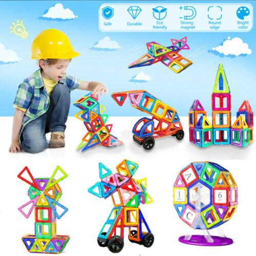 Kids Building Toys 133 Pcs Magnetic Tiles Blocks Sets Gift For Age 2 3 4 5 6 7 8