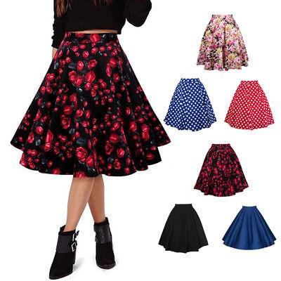 Ladies Vintage Midi Waist Retro Skater Flared Pleated Swing Floral Skirt Dress
