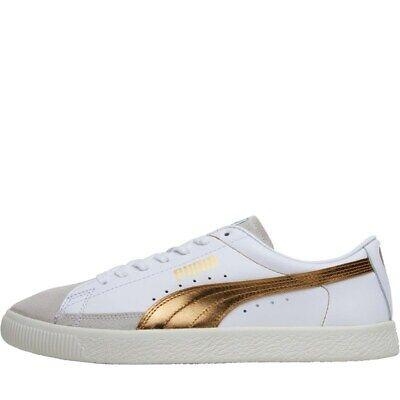 Men's Puma Basket 90680 White / Gold Leather Retro Trainers UK Size 6 - 12