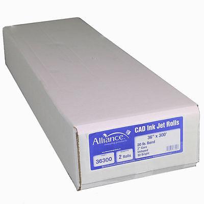 2 Rolls 36x300 20lb Bond Hp Designjet Plotter Paper Canon Inkjet 2 Core Cad