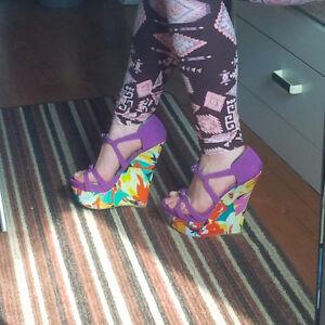 Purple, Colorful Wedge Sandals, Size 6.5-7 EU Kitchener / Waterloo Kitchener Area image 3
