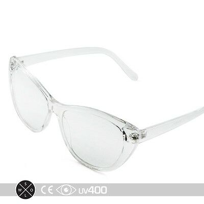 Clear Frame 1960's Vintage Mod Fashion Clear Lens Cat Eye Glasses 60's S193