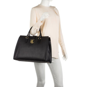 b9617c4da9b7 LAUREN RALPH LAUREN Carrington Brigitte Tote Black LARGE