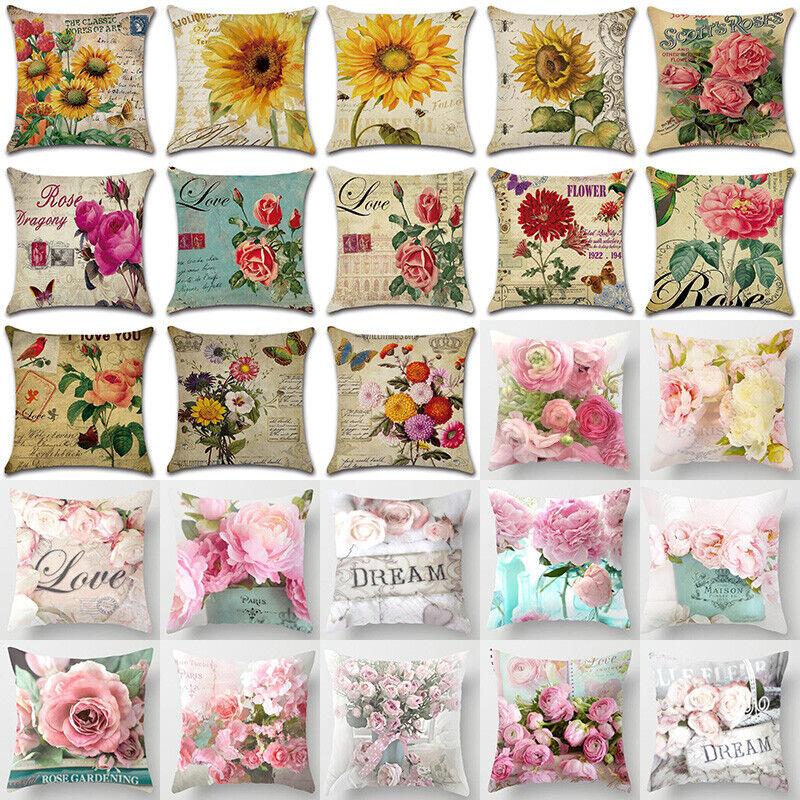Retro Flowers Throw Decorative Pillow Case Sofa Car Cushion