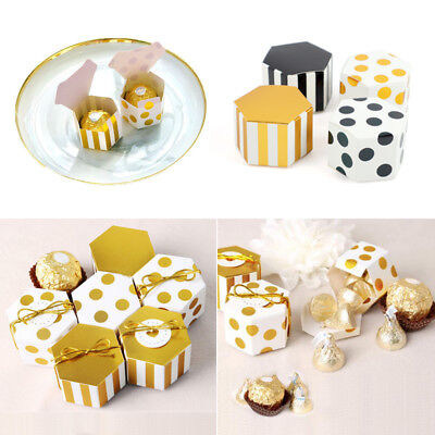 (10/50Pcs Stripe/Dots Hexagon Candy Gift Box Baptism Wedding Favor Paper Mini Box)