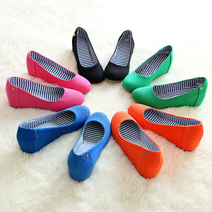Womens Wedge Heel Closed Toe Canvas Shoes