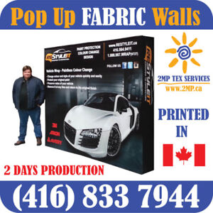 Trade Show Pop Up FABRIC Back Wall Displays & Counters + PRINT