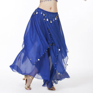 NWT-belly-dance-Costume-skirt-with-gold-cions-13-Colours