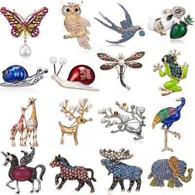 Animal Owl Butterfly Horse Elephant Pearl Crystal Brooch Pin Women Men Jewelry (Owl Pin)